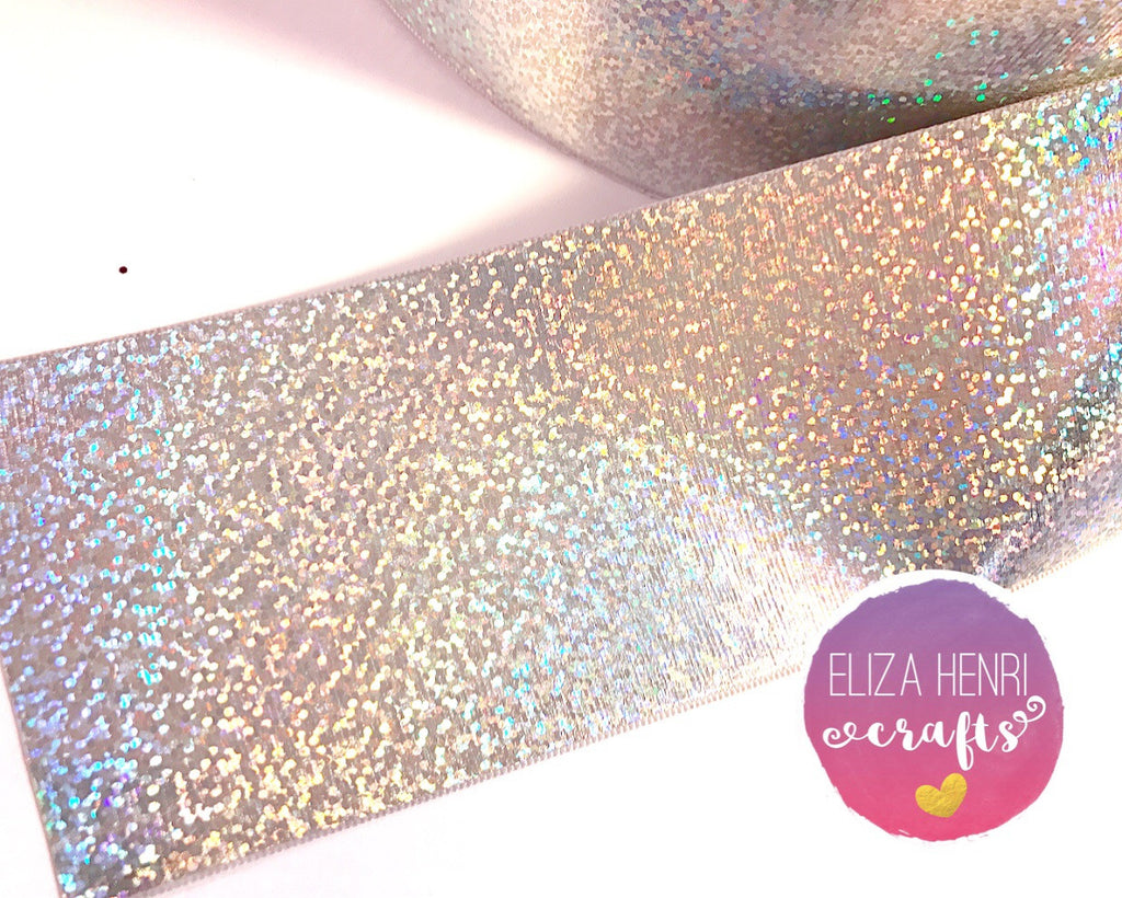 Holographic Silver Foil ribbon Grosgrain Ribbon 3''