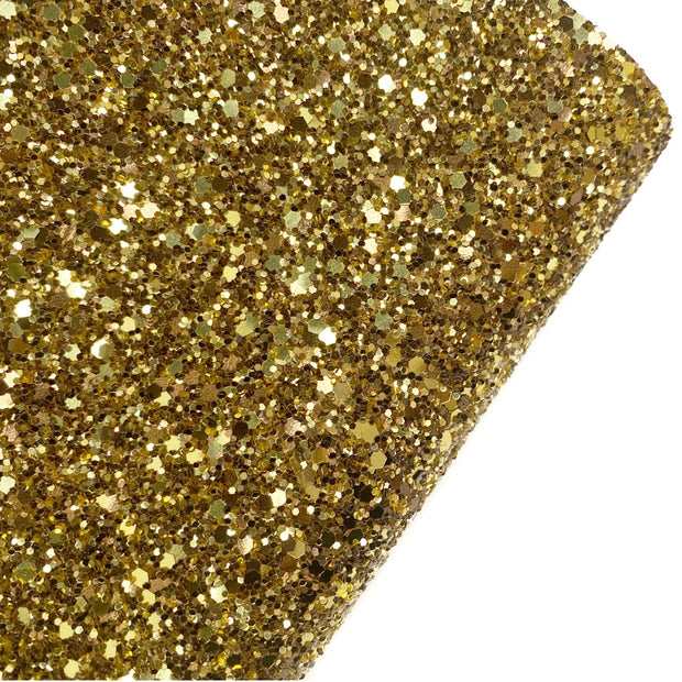 Gold & Brown Speckled Chunky Glitter Fabric- Premium Essentials