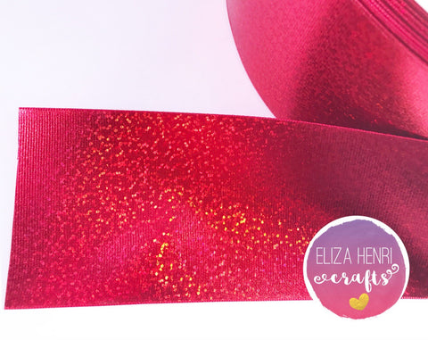 Holographic Red Foil ribbon Grosgrain Ribbon 3''