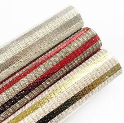 Christmas Crackers Striped Fine Glitter Fabric