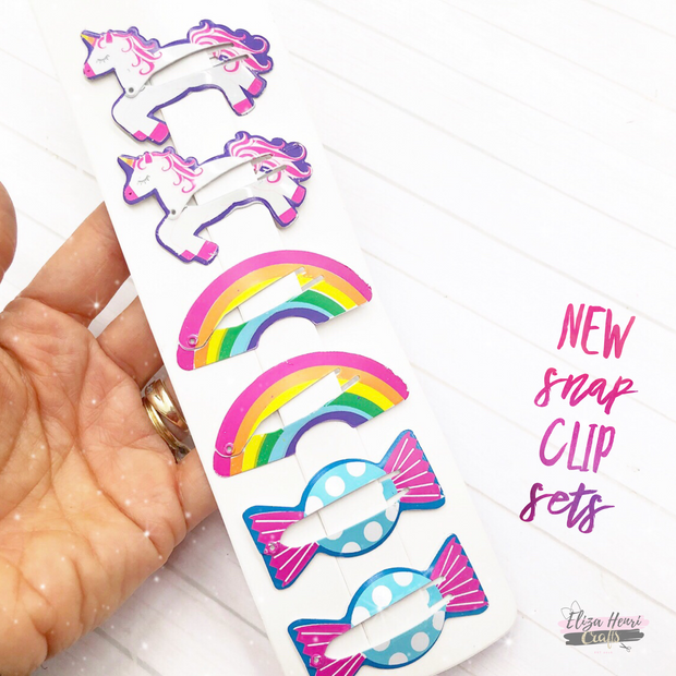 Sweet Unicorn Rainbow Snap Hair Clips Sets