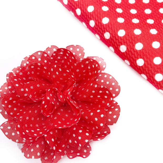 Red & White Frilly Polka Dot Chiffon Posies Flowers