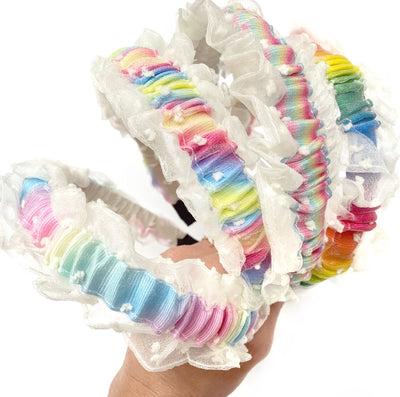 Pretty Rainbow Frilly Hair Bands