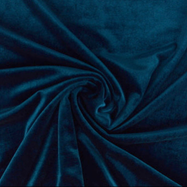 Petrol Blue Luxury Stretch Plush Velvet