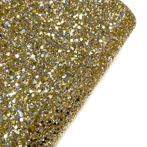 Gold & Silver Speckled Chunky Glitter Fabric- Premium Essentials