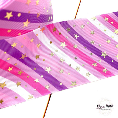 Pink Stars & Stripes Foil Star Grosgrain Ribbon 3''