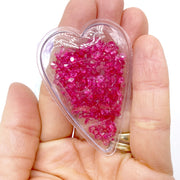 Crystal Filled Heart Shaped Shaker Snap Clips