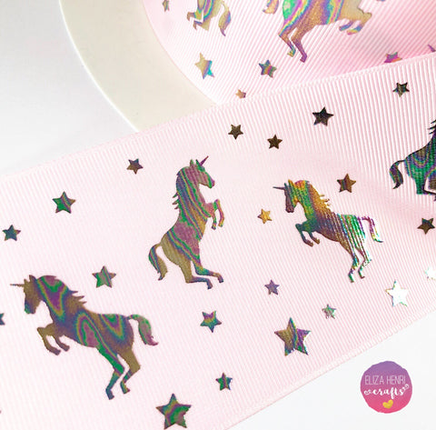 Baby Pink Mini Holographic Unicorn Foil Grosgrain Ribbon 3''