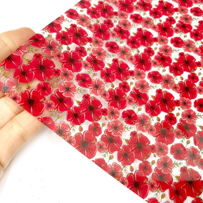 Poppy Fields Transparent Fabric Sheets