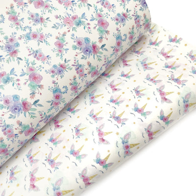 Little Miss Unicorn Smooth Faux Leather Fabric