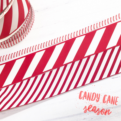 Candy Cane Striped Grosgrain Ribbon 10mm & 38mm- Styles Vary