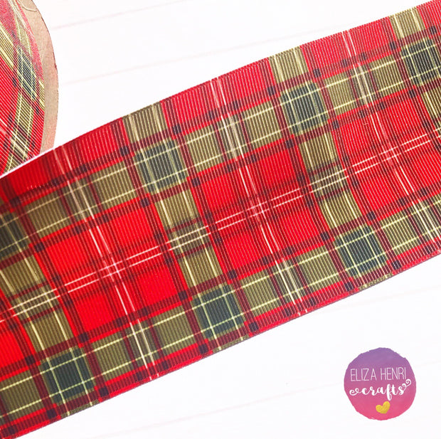 Xmas Tartan Red & Green Tartan Grosgrain Ribbon 2'' or 3''