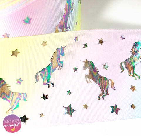 Pastel Rainbow Mini Holographic Unicorn Foil Grosgrain Ribbon 3''