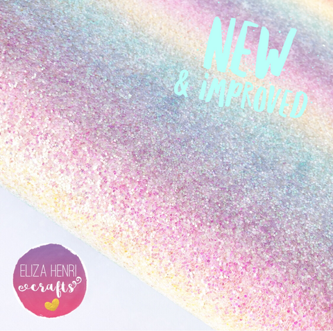 New Pastel Rainbow Dreams Chunky Glitter Fabric