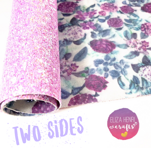 EHC Exclusive Double Sided Floral Chunky Glitter Fabric
