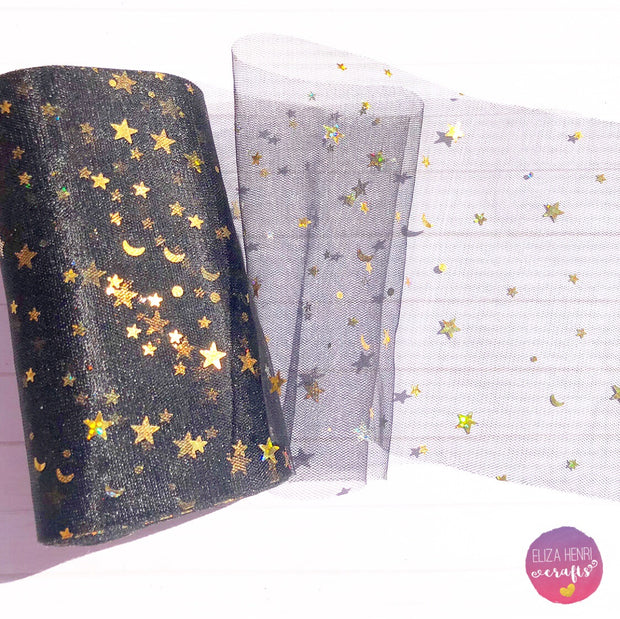 Moons & Stars Luxury Foil Tulle Fabric