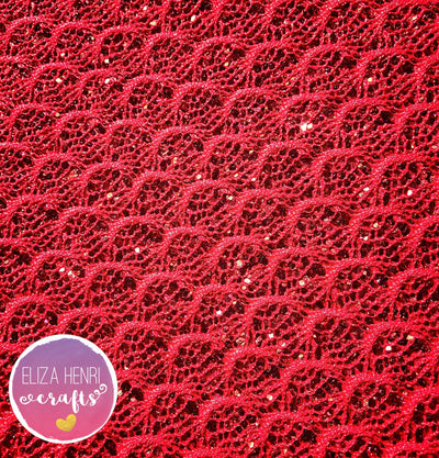 Red Scallop Glitter Lace Fabric