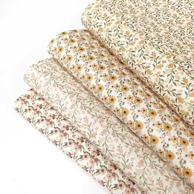 Fall Florals Glitter Faux Suede Fabric Sheets