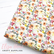 Tiny Peach Floral Artisan Fabric Felt