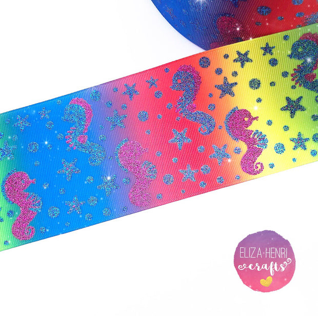Under the sea seahorse Glitter Grosgrain Ribbon 3''