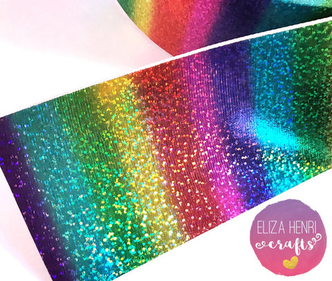 Holographic Rainbow Foil ribbon Grosgrain Ribbon 3''