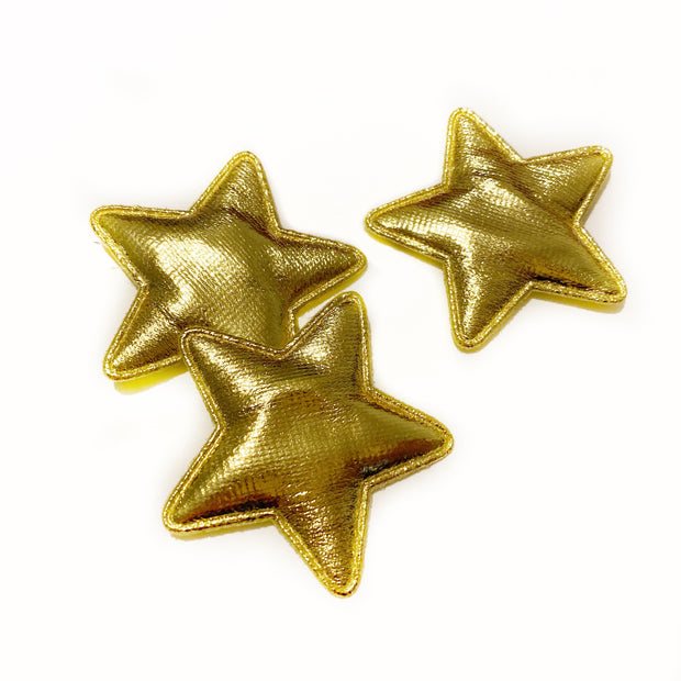 Gold Metallic Padded Star Embellishments