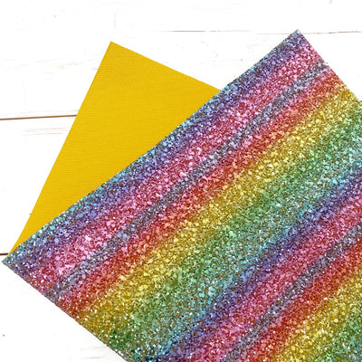 Singing a Rainbow Gold Premium Chunky Glitter Fabric- CORE RANGE