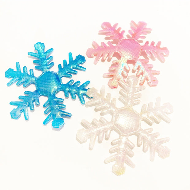 Coloured Soft Shiny Fabric Snowflakes 6.5cm
