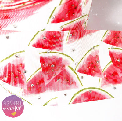 Diamonte Watermelon Grosgrain Ribbon 3''