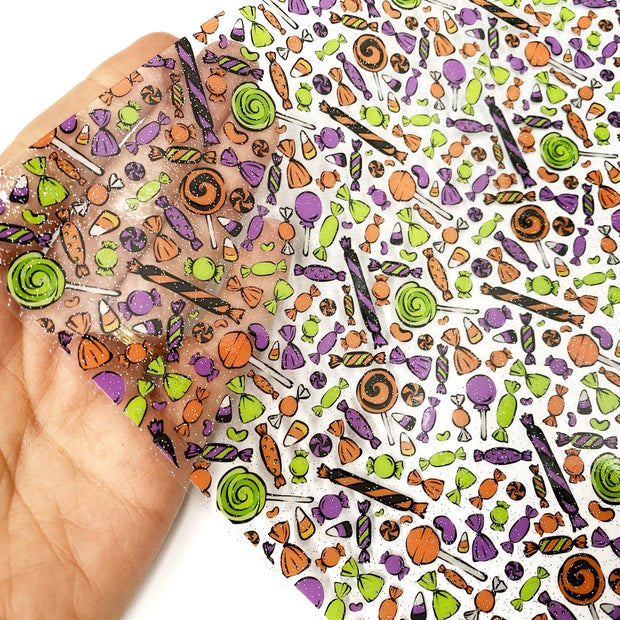 Trick or Treat Glitter Transparent Fabric Sheets