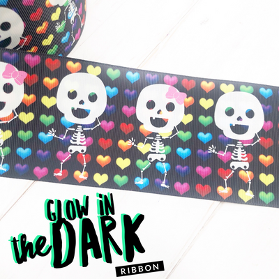 Glow in the Dark Funny Bones Skeleton Grosgrain Ribbon 3''