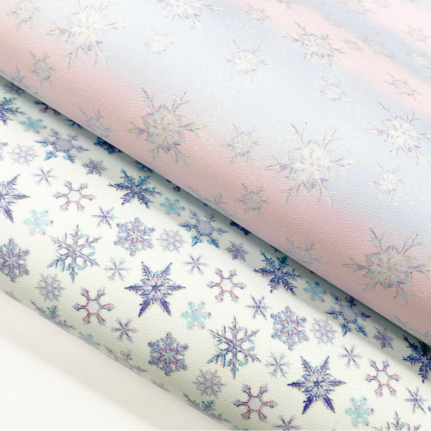 Snowflakes Smooth Faux Leather Fabrics