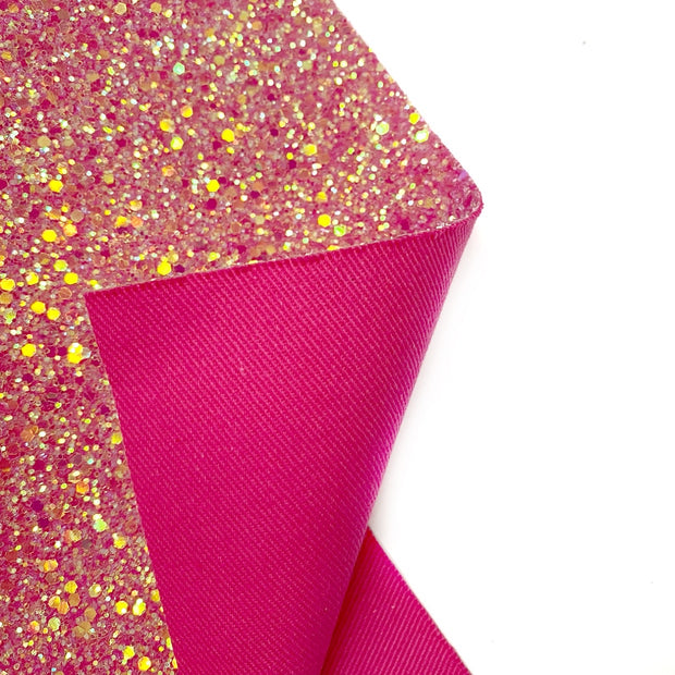 Hot Pink Fairytales Premium Chunky Glitter Fabric