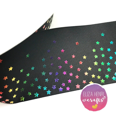 Black Rainbow Foil mini Stars Grosgrain Ribbon 3''