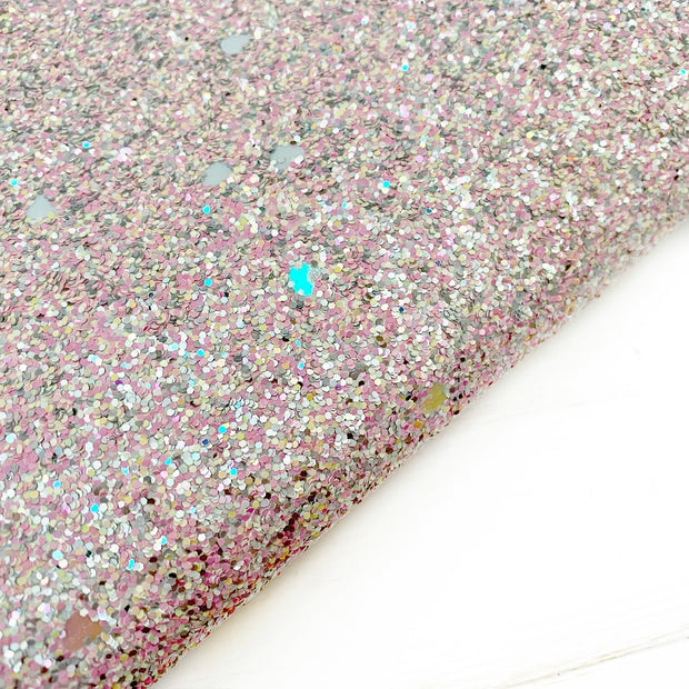 Sweet Candy Hearts Chunky Glitter Fabric