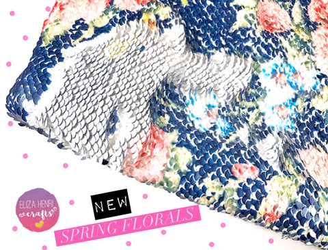 Spring Floral - Floral to White Colour change Mermaid reversible Sequin Fabric Felt