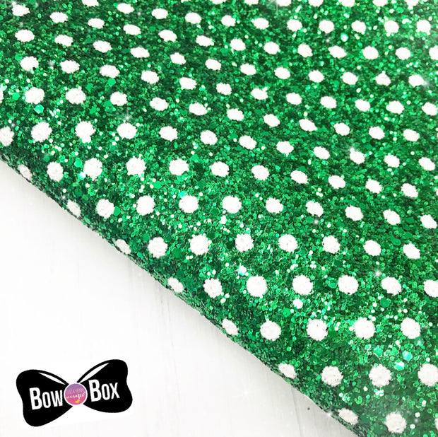 Exclusive Elfie Polka Dot Chunky Glitter Fabric