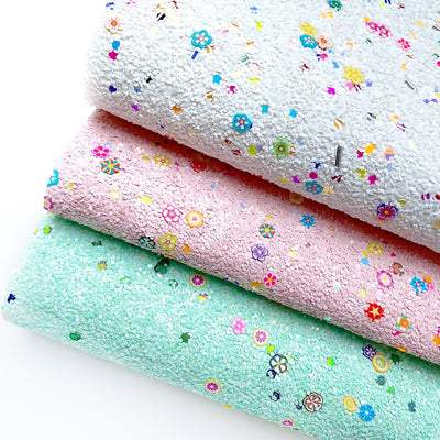 Flower Power Chunky Glitter Fabric Sheets