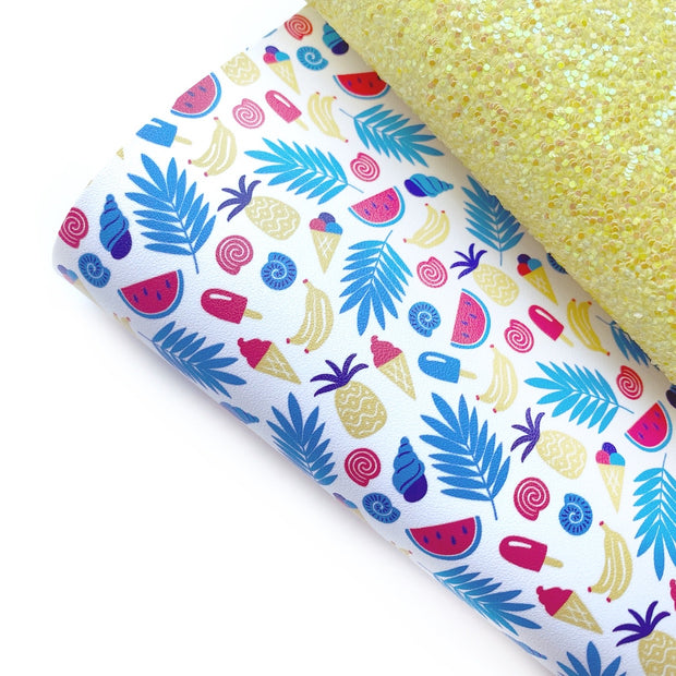 Yummy Summer Treats Faux Leather Fabric Sheets