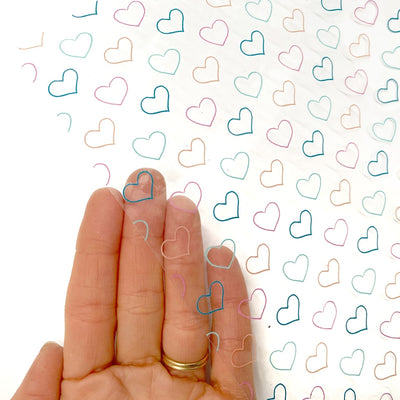 Perfect Rainbow Hearts Transparent Fabric Sheets