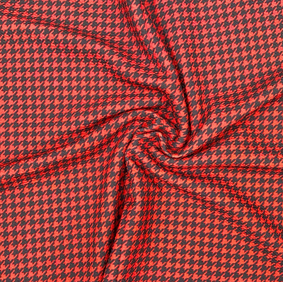 Red/Black Hounds tooth Premium Print Bullet Fabric