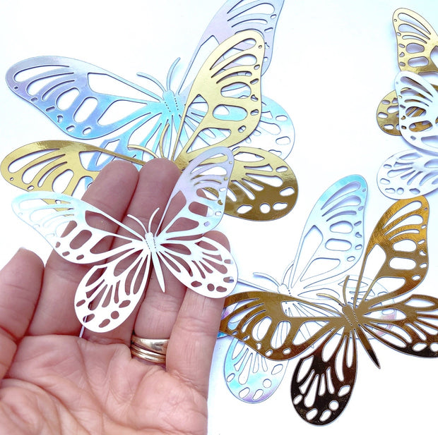 Metallic 3D Cut-out Rounded Butterfly Embellishments