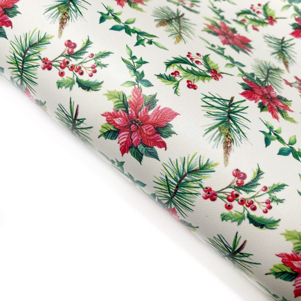 Christmas Floral Poinsettias Smooth Faux Leather Fabric