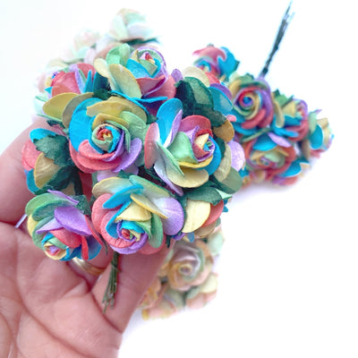 Luxe Bright Rainbow Paper Mulberry Roses