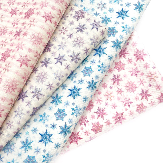 Falling snowflakes Blue Bullet Fabric