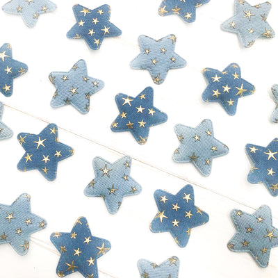 Metallic Padded Denim Print Star Embellishments