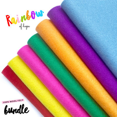 Rainbow 100% Wool Blend Felt Bundle