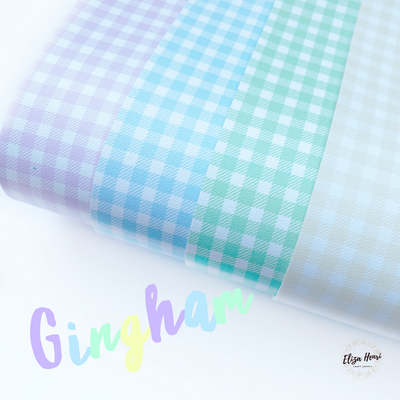 Pastel Gingham Faux Leather Fabric Sheets
