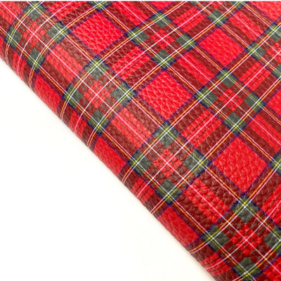 Tartan Textured Soft Faux Leather Fabric Sheets
