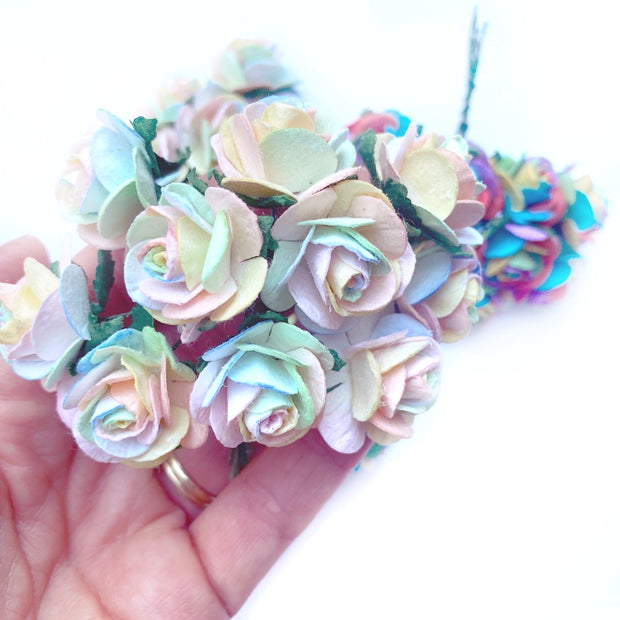 Luxe Pastel Rainbow Paper Mulberry Roses